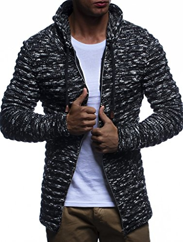 LEIF NELSON Herren Hoodie Strickjacke Kapuzenpullover Jacke Hoody Sweatjacke Zipper Sweatshirt Longsleeve LN20724; Größe