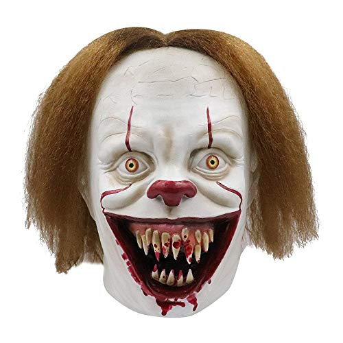 Tawcal Halloween Clown Maske, Gesichtsmaske mit Haaren Masken Horror Clown Kostüm Gruselig Cosplay Latex Party Prop Maskerade Requisiten für Halloween Party Feiern Bar - Haar Clown Kostüm