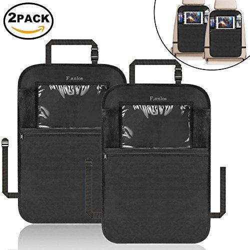 Auto Rückenlehnenschutz, 2 Stück Wasserdicht Rückenlehnenschutz für Auto, Rückenlehnen-Tasche, Auto Rücksitz Organizer für Kinder,Multifunktionen Rückenlehnen-Tasche Auto mit durchsichtigem iPad-Tablet-Halter, Kick-Matten-Schutz für Auto(Schwarz)