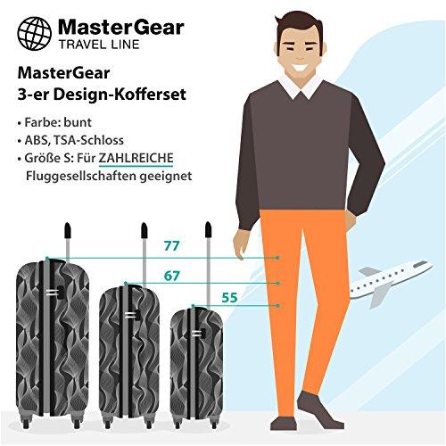 MasterGear 3er Design Kofferset | 4 Rollen (360 Grad) | Trolley, Reisekoffer, Hartschalenkoffer, ABS, Zahlenschloss, stapelbar | 3er Set,Schwarz