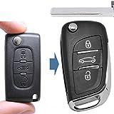 Klapp Schlüssel UMBAU Gehäuse Fernbedienung 3 Tasten HU83 Rohling für Citroen/Peugeot / FIAT