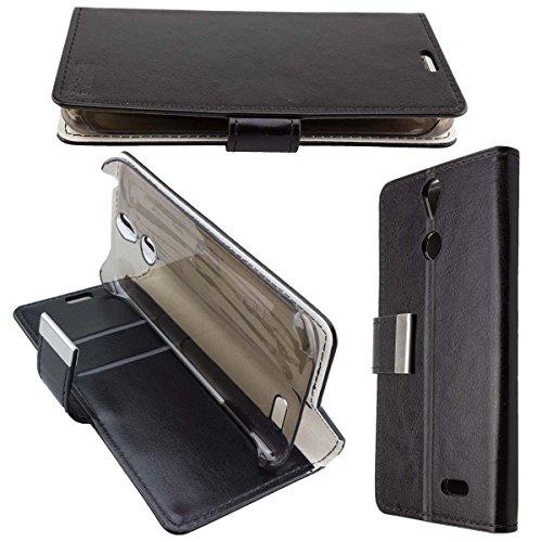 (caseroxx Hülle/Tasche Bookstyle-Case schwarz + Displayschutzfolie für Vernee Thor, Set Bestehend aus Bookstyle-Case und Displayschutzfolie)