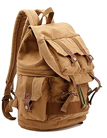Menschwear High Density Thick Canvas Backpack Rucksack Hiking Travel Tote Back Bag Camera Bag for Womens and Men Khaki