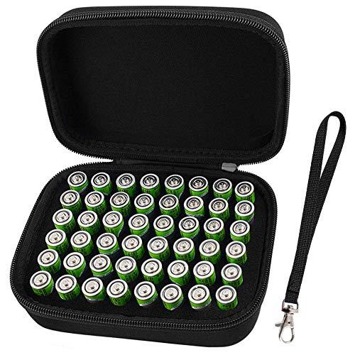 Batterie Aufbewahrungsbox Batteriebox - Hält 48 Batterien AA mit Handschlaufe - Schwarz - Aaa 48 Batterien