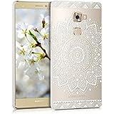 kwmobile Elegante y ligera funda Crystal Case Diseño flor para Huawei Mate S en blanco transparente