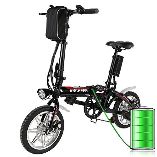Ancheer 14inch Elektrofahrrad Klapprad E-bike mit Lithium-Akku Ladegerät (36V,8Ah) Schwarz