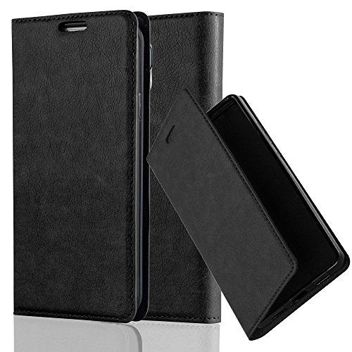 Cadorabo Hülle für Samsung Galaxy S5 / S5 NEO - Hülle in Nacht SCHWARZ – Handyhülle mit Magnetverschluss, Standfunktion und Kartenfach - Case Cover Schutzhülle Etui Tasche Book Klapp Style