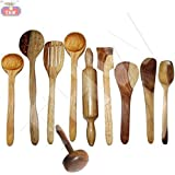 CLASSIC SHOPPE Wooden Cooking & Serving Spoon Set Of 10 Pcs   Wooden Kitchen Tools, Spatula And Ladle Set Includes 1 Skimmer(Jhara), 2 Ladles(Karchchi), 1 Slotted Palta, 1 Chapati Spoon(Palta), 1 Rice Palta, 1 Chapati Rolling Pin(Belan), 1 Spatula, 1