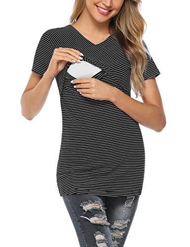 Aibrou allattamento abbigliamento- abbigliamento premaman da donna top a righe top gravidanza allattamento al seno camicia sovrapposizione