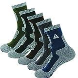 HASHI 5 pares Multi rendimiento senderismo Trekking Camping al aire libre equipo calcetines Grande (zapatos de los hombres 42.5-46EU) Negro, gris, azul marino, marrón, verde