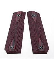 Cool Hand 1911 G10 Grips pour Pistol pleine grandeur Gouvernement / Commandant, Vis gratuite, Diamond Cut, sécurité Ambi couleur cerise