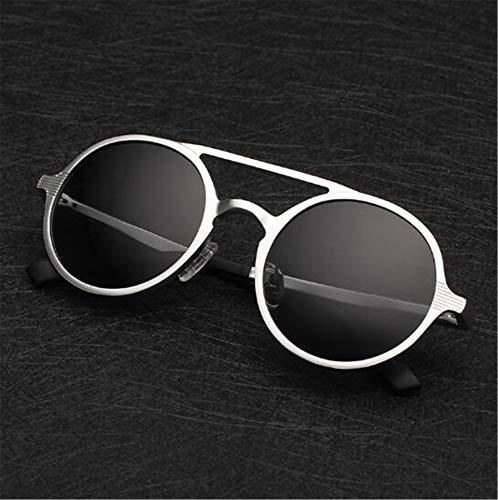 Sonnenbrille Farbe Aluminium-Magnesium Polarisierte Mode Retro Runde Brille Anti-Glare ATC Material Linsen Silver