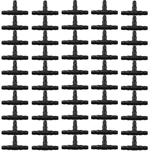 50 conectores en T de 3 vías, tres conectores para manguera de riego con púas, sistema de goteo para manguera de 4/7 mm