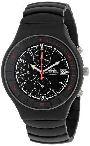 gino Franco Men's 957BK Mirano Round Chronograph Black Ion-Plated Watch