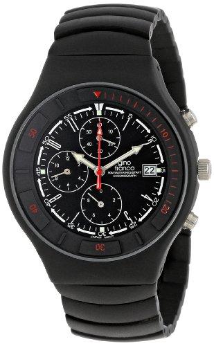 gino Franco Men's 957BK Mirano Round Chronograph Black Ion-Plated Watch
