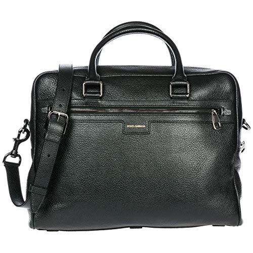 Dolce & Gabbana Reisetasche Leder Tasche Weekender Umhängetasche Schwarz