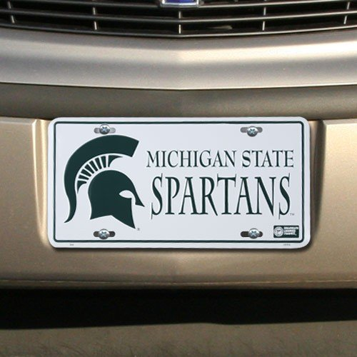 NCAA Michigan State Spartans White Metal License Plate -