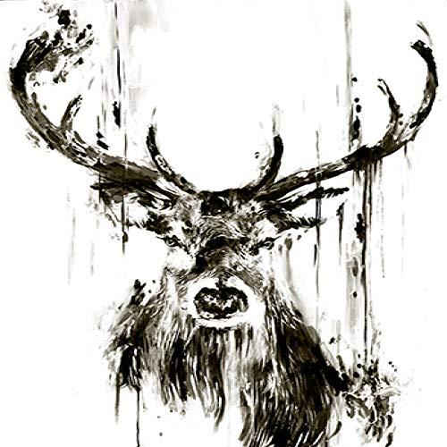 zgmtj Balck und White Elephant Deer Tier Minimalist Poster Print Leinwand Malerei Wandkunst Für Wohnzimmer Nordic Scandinavian Decor (Sport Auto Ausstecher)