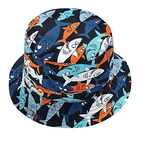EUCoo_kinder Bedruckter Fischerhut mit Haifischmuster und schnelltrocknender Manschette. Neuer Sonnenhut