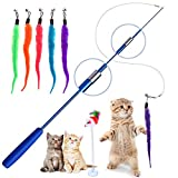 Cat Feather Toys, Retractable Cat Stick Cat Teaser for Pet Cat Kitten Interactive, Blue