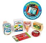 Polly Kaufladen Zubehör 5-teilig Käse-Butter-Set Miniaturen | Kinder Spielzeug für den Kaufmannsladen | Kinderkaufladen
