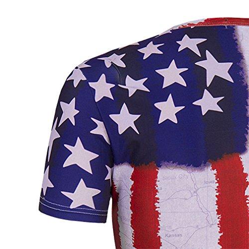 Whatlees Herren Hip Hop Slim Fit T-Shirt mit Bunt 3D Staatsflagge Skull Tier Druck Muster B056-34