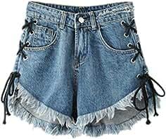 62a31e0b58603d EMIN Damen Shorts Mittelre Taille Denim Shorts Fitness Jeans Hot Pants  Verband