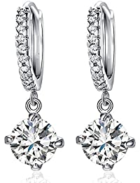 Diwali Gift - Mahi Rhodium Plated Bali Hoop Clip-On Earrings With Cubic Zirconia For Women ER1102359R