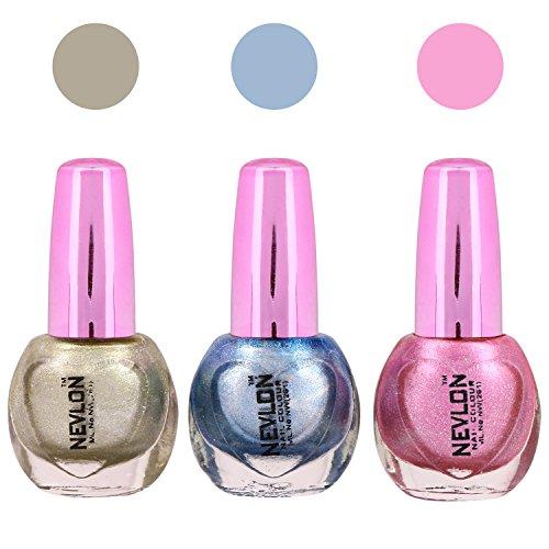 Nevlon Grey-Pink-Blue Glossy Nail Polish Set of 3(30 ML)