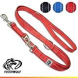 FEUERWOLF Hundeleine 3-Fach Verstellbar - Doppelleine - Mittlere und große Hunde - Robust und Stabil - Beidseitig Reflektierend - 2,2m Lang - Rot