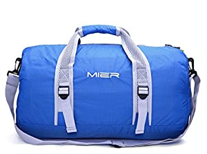 MIER 40L Foldable Barrel Gym Bag Sports Holdall Duffel Bag for Women, Ladies and Men, Water Resistant Nylon