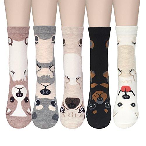 5 Pärchen Damen Baumwolle Crew Socken Niedliche Tiere warme Casual Wolle Socken Bunt Muster Socken (Casual Muster Socken)