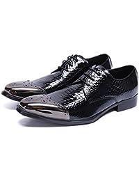 GAOLIXIA Scarpe da guida in pelle da uomo Fashion Business Scarpe casual Scarpe pigre Scarpe in pelle di coccodrillo (Colore : Nero, Dimensione : 40)