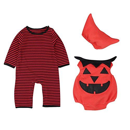 Kostüme 13 14 Halloween (Le SSara Baby Winter Kürbis Strampler Neugeborenen Bodysuit Halloweenkostüm Outfits 3pcs (12-18 Monate,)