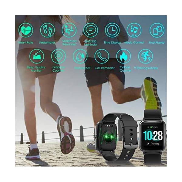 HOMVILLA Smartwatch Fitness Tracker Reloj Inteligente Impermeable IP68 Fitness con Monitor de Ritmo Cardíaco Podómetro Monitor de Sueño Cronómetro Temporizador para Hombres Mujeres iPhone Android rosado 2