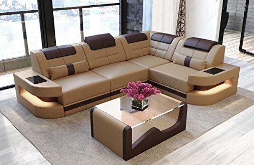 Sofa Dreams Ledersofa Como L Form sandbeige-Dunkelbraun