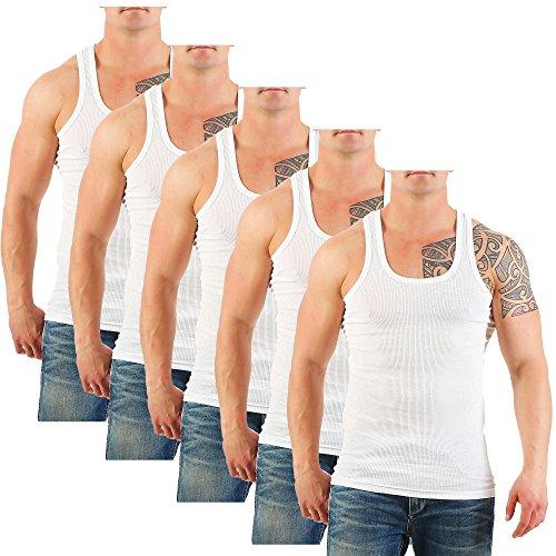 5er Pack Herren Unterhemd (Achselhemd / Muskelshirt) Doppelripp Nr. 449 auch in Übergröße Weiß