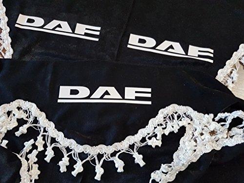 Preisvergleich Produktbild 3-Teilig Set Schwarz Gardinen mit Weiß Bommeln UNIVERSAL GRÖSSE für DAF Alle Modelle LKW Zubehör Dekoration Innenraum Vorhänge Plüsch Stoff