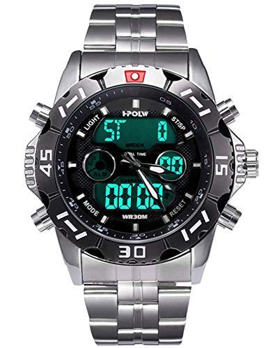 Montres Hommes Noir Montre Militaire étanche Sports Analogique Digitale Homme Chronomètre LED Alarme Jour Date Grand Acier Inoxydable Mode Cool Numerique Montres pour Hommes