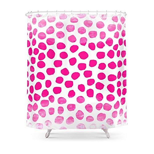 Suminla-Home Cortina de Ducha para baño, diseño de Lunares, Color Rosa cálido, Ideal como Regalo para Dormitorio Universitario, decoración de habitación, Pintura asequible de 182 x 182 cm