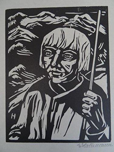 Porträt eines jungen Mannes mit Pagenkopf. Holzschnitt, um 1920. Signiert. 18 x 14 cm.