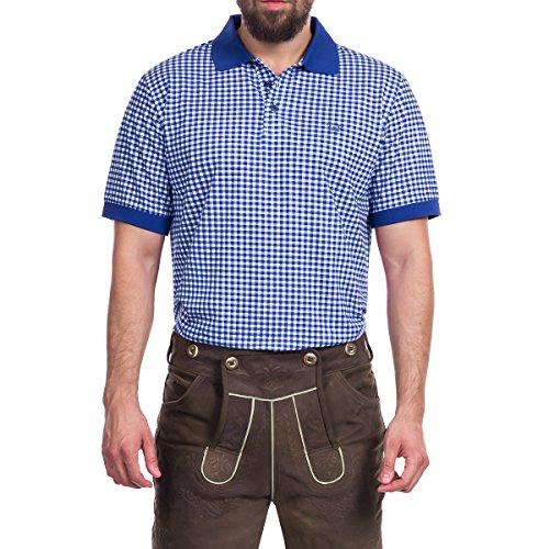 Tracht & Pracht Herren 100% Baumwolle - Trachtenhemd Poloshirt Polo Trachtenshirt T-Shirt Karo Blau - XXL