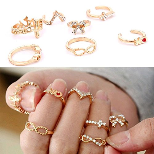 calistouk 7 Gold Strass Ring Set Mix Style Gold Creative Hingucker (Kostüm Schmuck Ringe Engagement)
