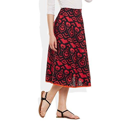 Damen Bekleidung Baumwolle gedruckt mittellanger Rock a-Linie Schwarz Rot