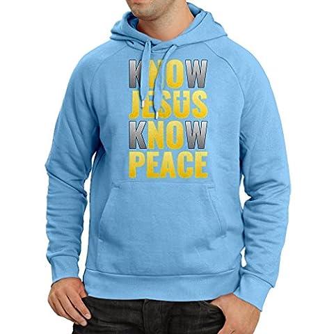 Sweatshirt à capuche manches longues Know Jesus Know Peace! Christian clothing Jesus saves t shirt (Large Bleu Multicolore)
