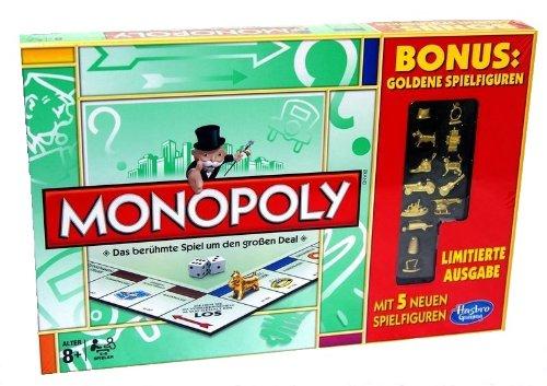 Monopoly Bonus Goldene Spielfiguren Limited Edition Limitierte Ausgabe mit 5 neuen Spielfiguren