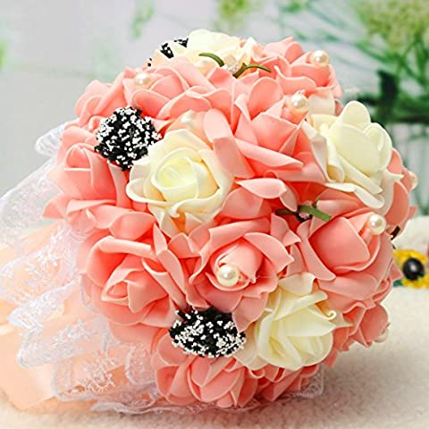 Bluelover La Main Rose Fleur Fleurs Artificielles Wedding Bridal Bouquet Broche Cristal Perles Fleurs-Champagne