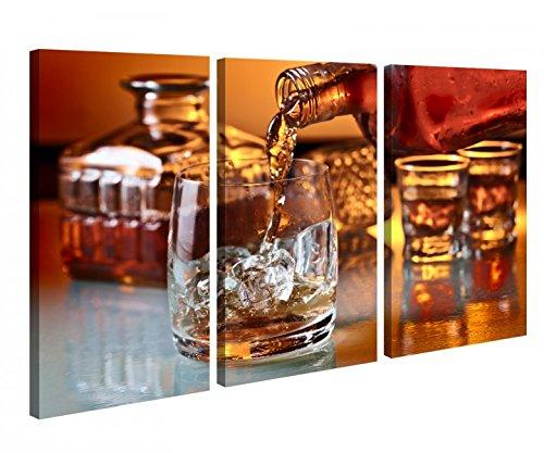 Leinwandbild 3 Tlg Whisky Alkohol Glas Flasche Fest Leinwand Bild Bilder Holz fertig gerahmt 9P1041, 3 tlg BxH:120x80cm (3Stk 40x 80cm)