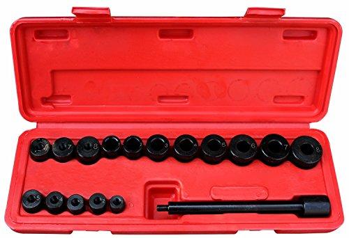 Sotech 17-teilige Kupplungsdorn Set, Kupplung Zentrierwerkzeug aus C45 Stahl, Kupplungszentriersatz mit rotem Koffer, Gehäusegröße: 21,5 x 12 x 5,5 cm