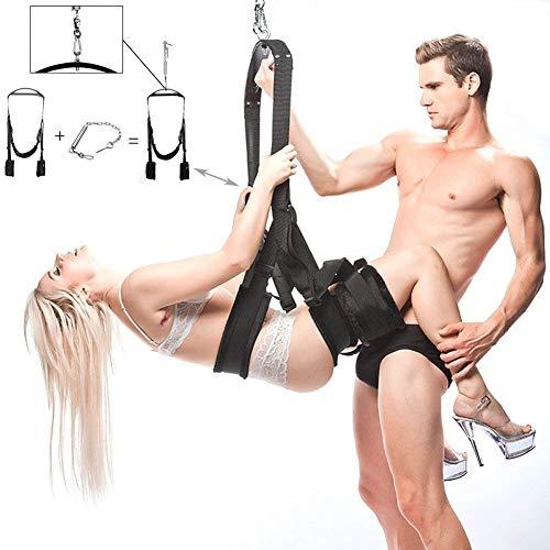 BDSM Sexspielzeug Sex Liebesschaukel swings für die Decke - extrem flauschige, robuste & bequeme Sexschaukel für Paare mit extra breiten Polstern mit Spreizstange, Karabiner, Dübel und Spezialfeder